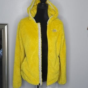 Vintage The North Face yellow fuzzy hooded jacket
